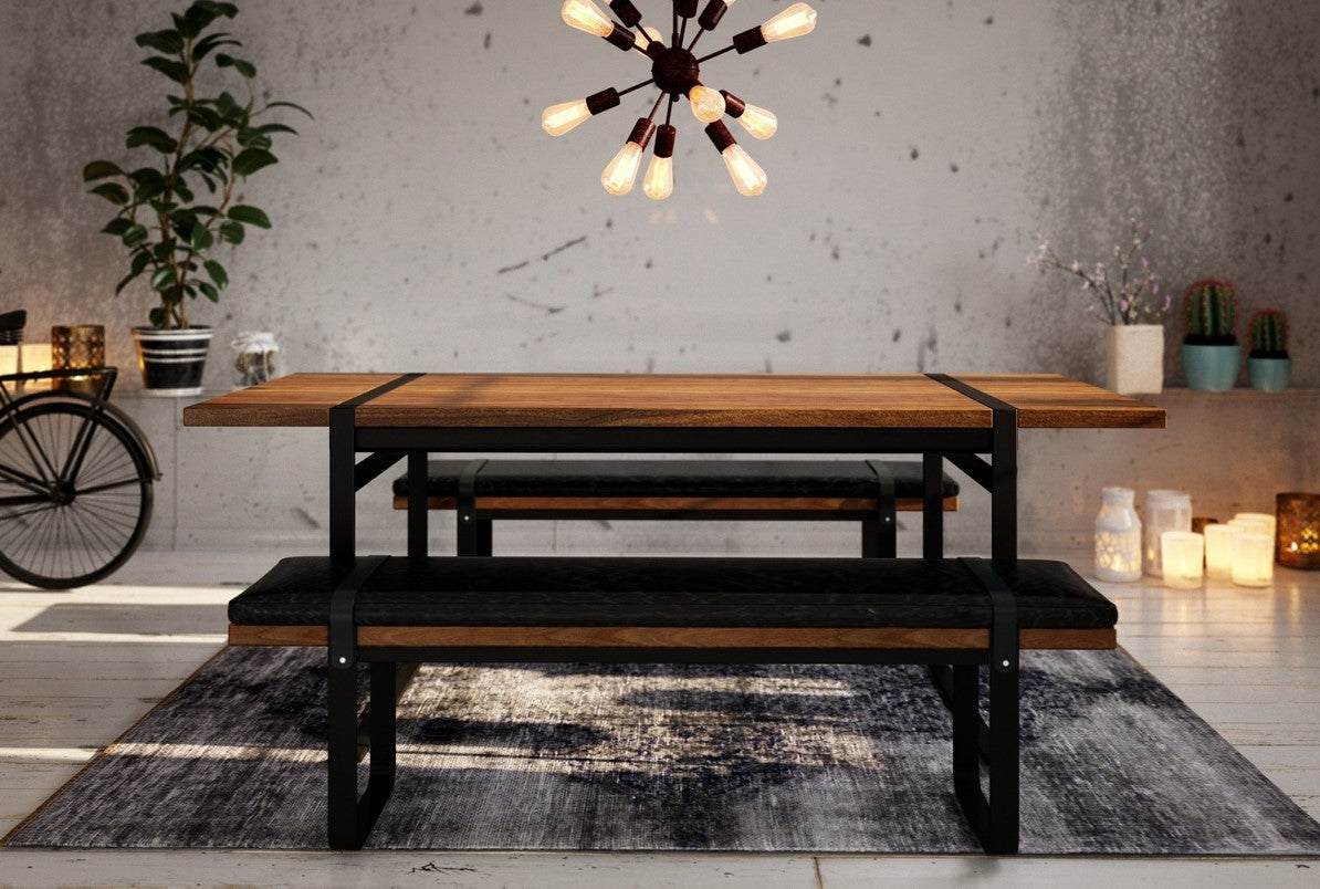 Brooklyn Dining Bench With Black Leather Cushion By LH Imports, Fernie B.C