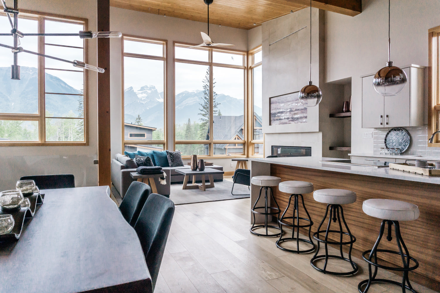 Great room interior design project of Montane home in Fernie Elk Valley BC
