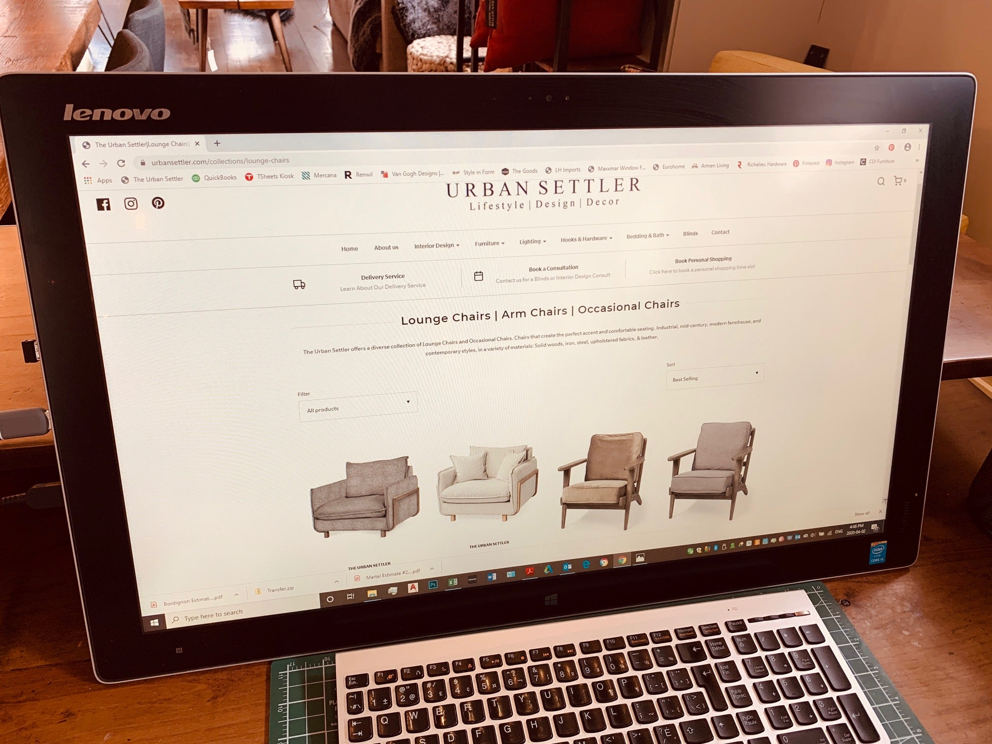 The Urban Settler furniture and interior company from Fernie Elk Valley BC Website page Lounge Chairs | Arm Chairs | Occasional Chairs shown on a computer screen.