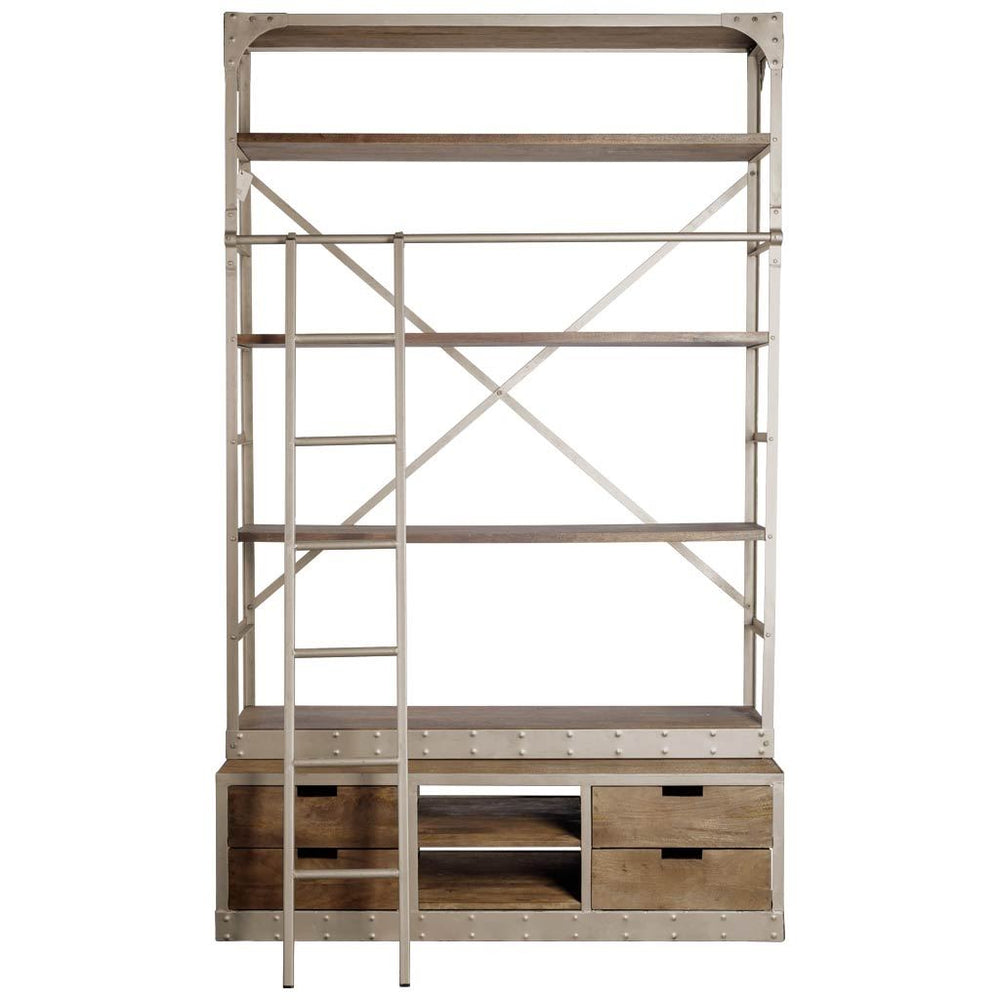 Brodie Wide Bookcase|Brown stained wood w/ rustic nickel finsh  iron frame.