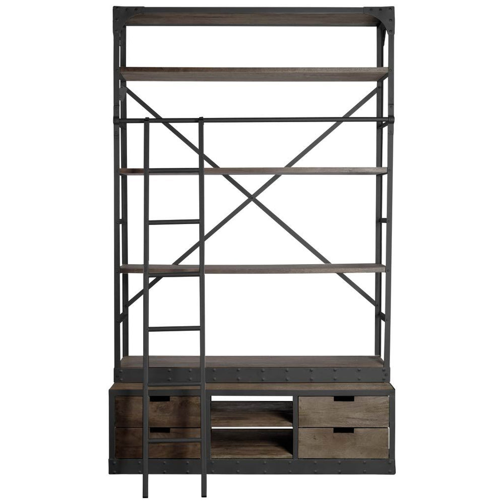 Brodie Wide Bookcase|Dark stained wood w/ black iron frame.