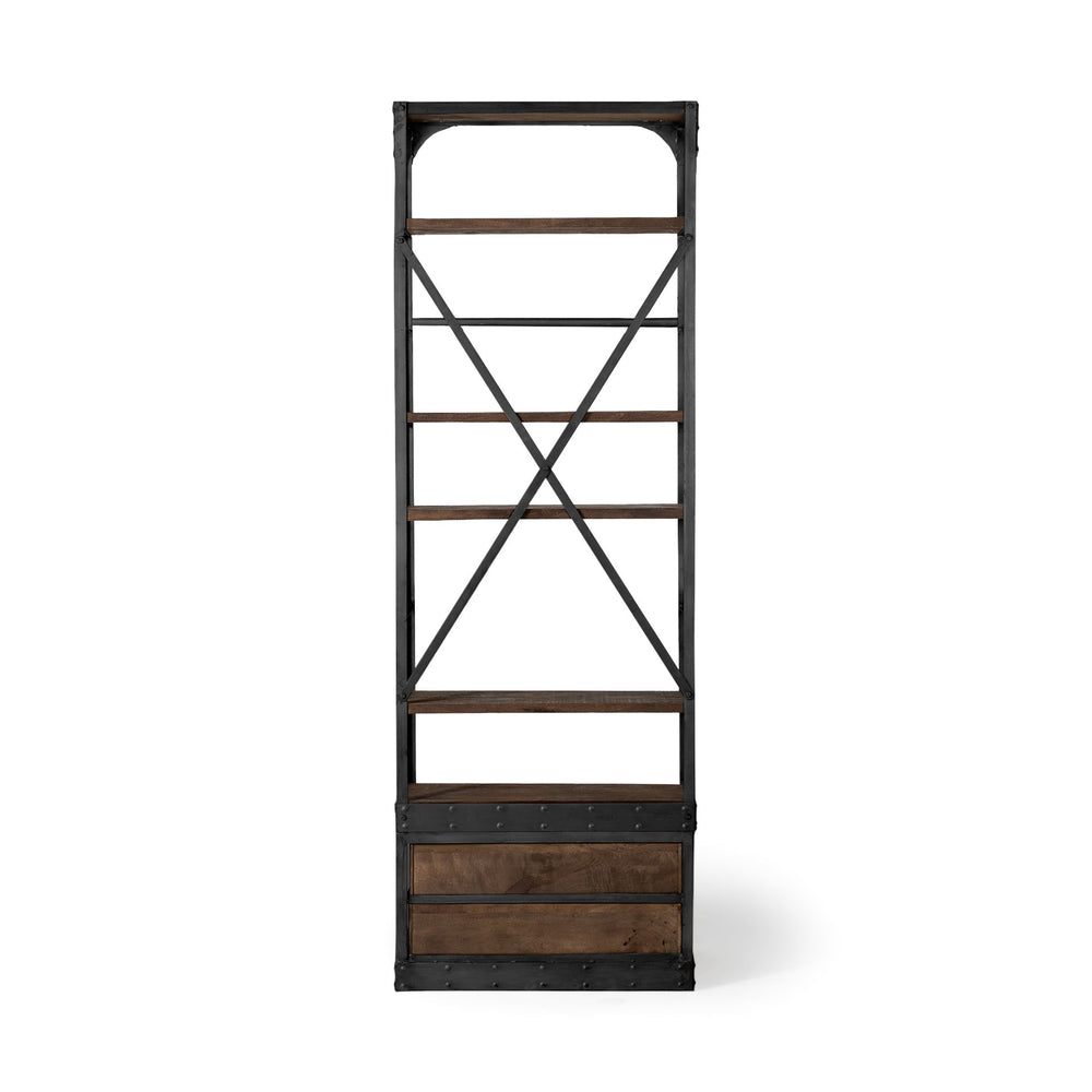 Brodie Narrow Bookcase|Dark stained wood w/ black iron frame