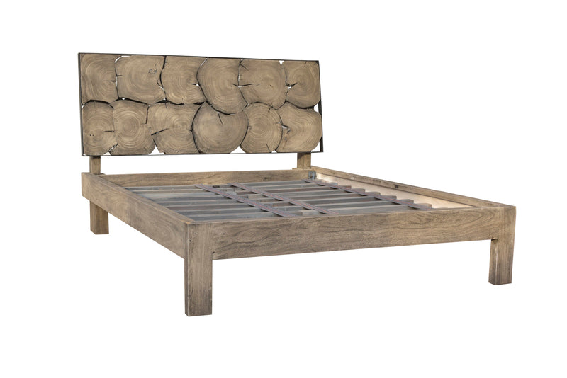 LH Imports Dakota Queen Bed. Made of recycled solid Acacia wood and sliced log rounds. Rustic steal accents. Grey/Brown finish.  Mountain modern style.  LH Imports Dakota King Bed. Made of recycled solid Acacia wood and sliced log rounds. Rustic steal accents. Grey/Brown finish.  Mountain modern style.