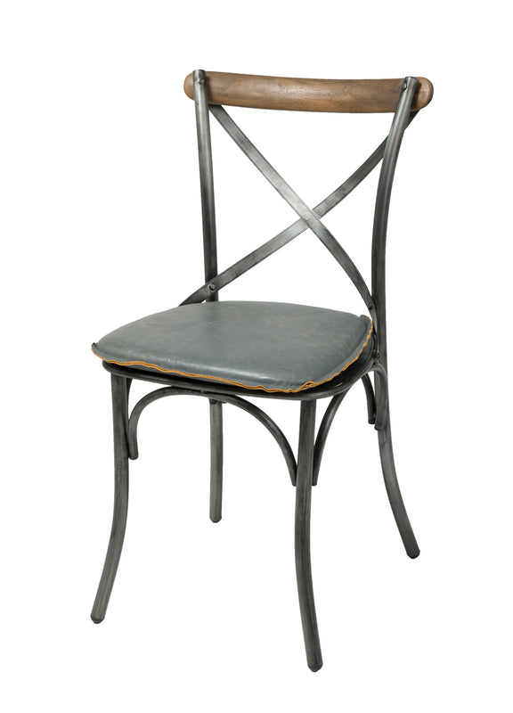 Metal Cross Back Dining Chair