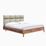LH Imports Remix Queen Bed. Solid wood with linen fabric headboard. Mid-century style.LH Imports Remix King Bed. Solid wood with linen fabric headboard. Mid-century style.