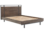 LH Imports Dante Bed. Solid acacia wood with steel legs and accents on headboard. Solid wood slats- no box spring required. Modern | Industrial style.