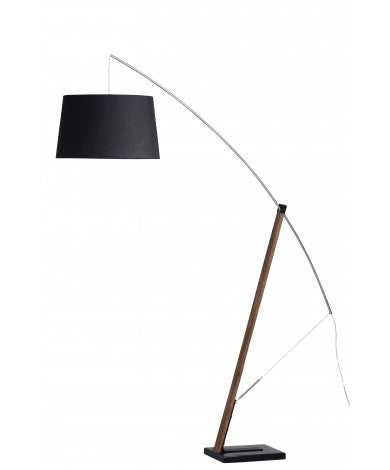 Arc Floor Lamp w/ Black Shade & Walnut Stain