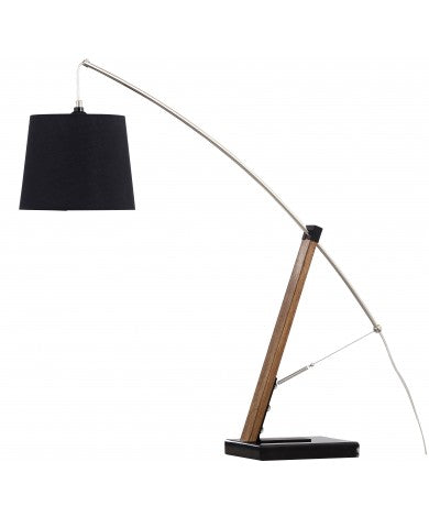 Arc Table Lamp w/ Black Shade & Walnut Stain