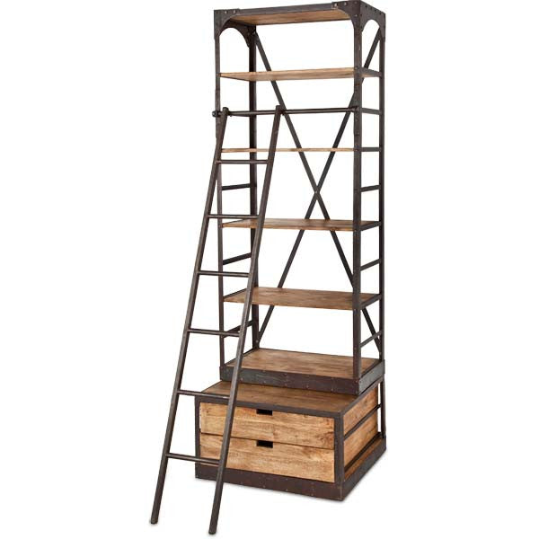 Brodie Narrow Bookcase | Natural wood w/ black iron frame
