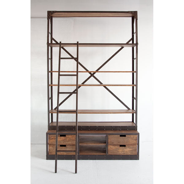 Brodie Wide Bookcase|Natural wood w/ black iron frame
