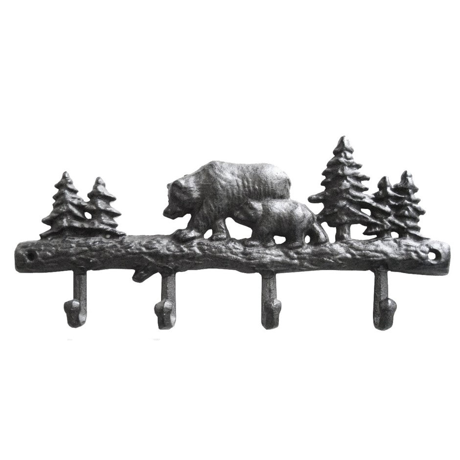 Bear 4 Hooks Rack Cast Iron Brown