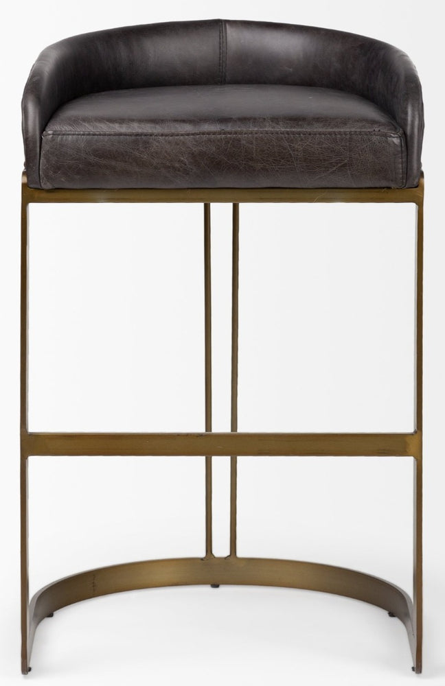 Hollyfield Bar Stool Black Leather