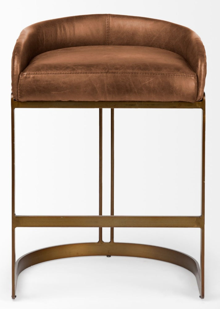 Hollyfield Bar Stool Brown Leather