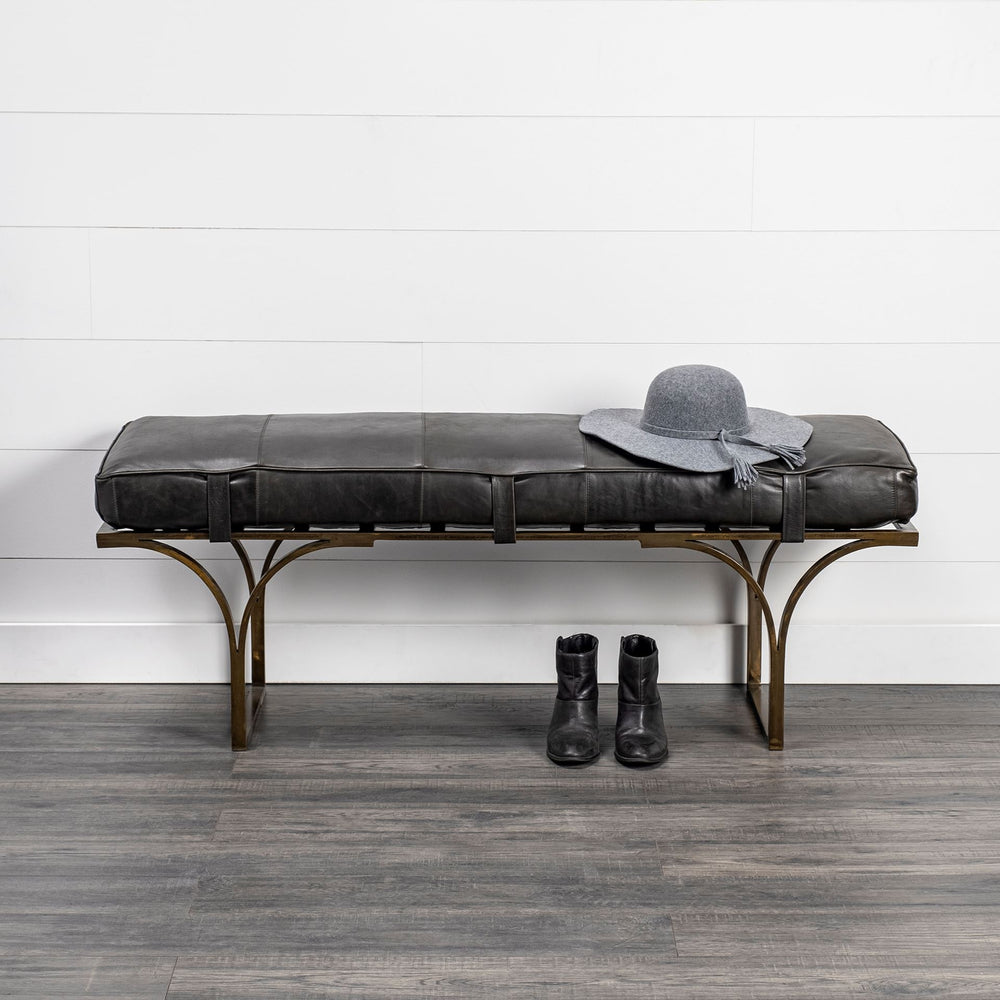Jessie Bench Antique Black Leather