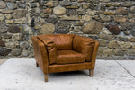 Manhattan Club Chair in Distressed Brown Leather