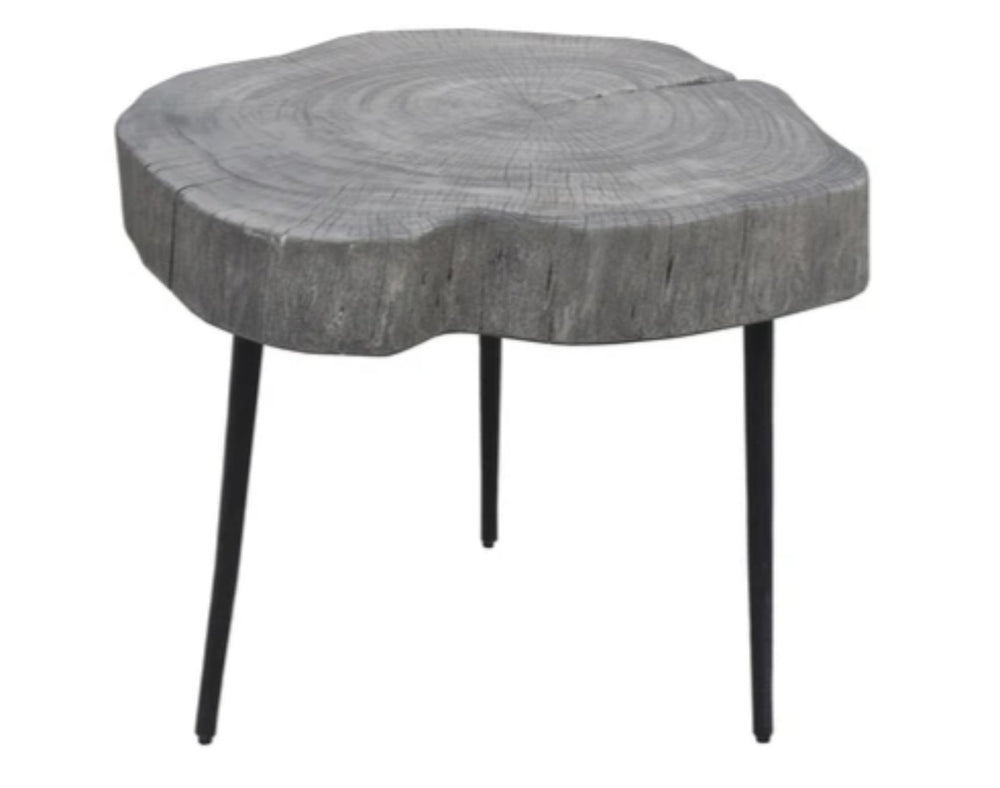 Organic Trunk Side Table Rustic Grey