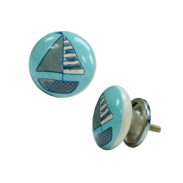 Ceramic Sailboat Knob