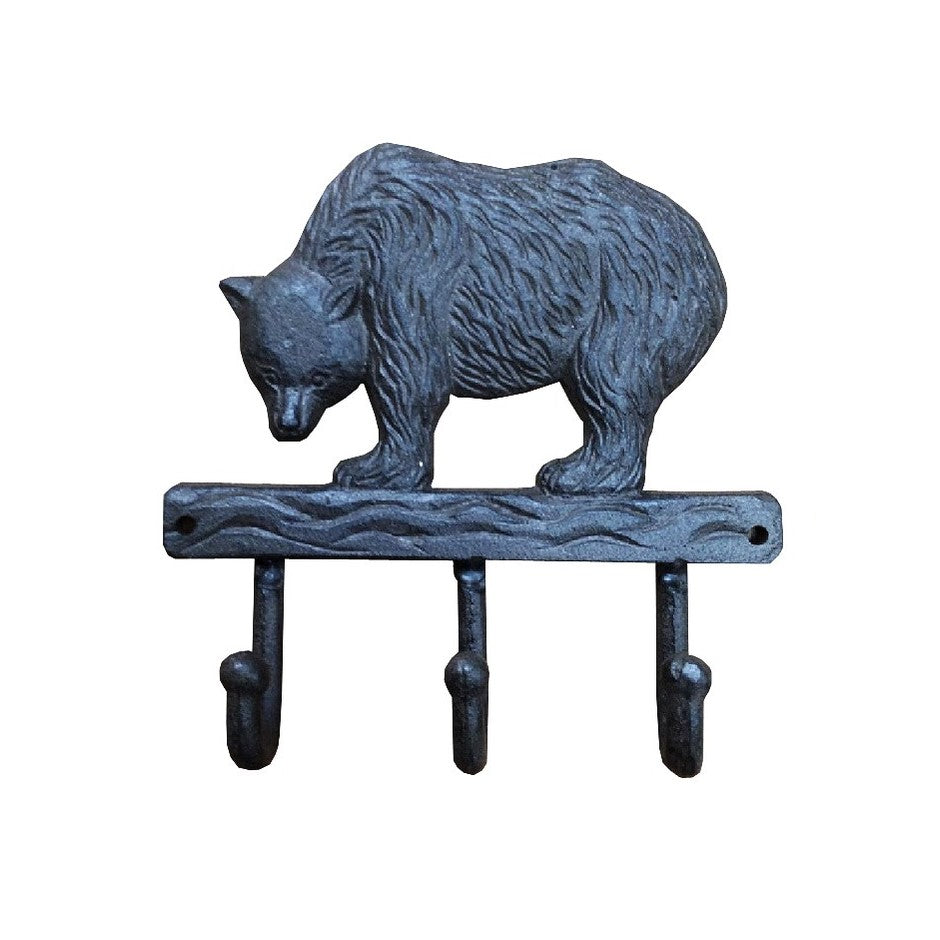 Bear 3 Hooks Rack Cast Iron Brown.