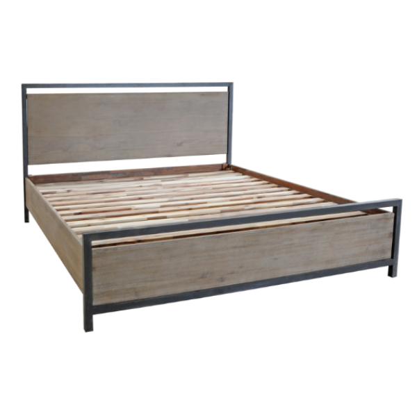 LH Imports Irondale Queen Bed. Solid acacia wood. Natural grey wash finish. Rustic grey steel  frame.  Modern industrial style. LH Imports Irondale King Bed. Solid acacia wood. Natural grey wash finish. Rustic grey steel  frame.  Modern industrial style.