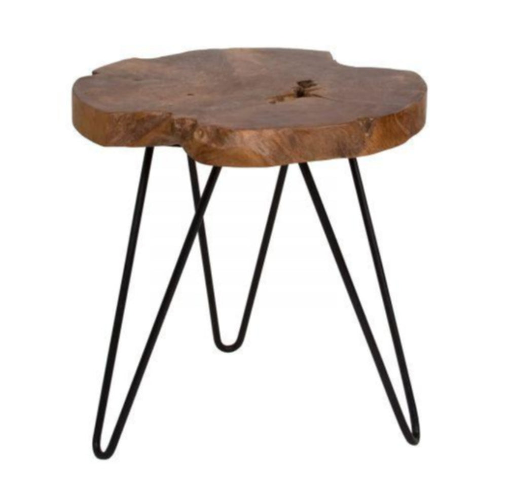 Natura Hairpin Round Accent Table