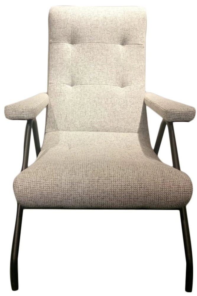 Retro Lounge Chair in Light Grey Tweed Fabric