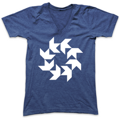 Circling Swallows V-Neck - Blue