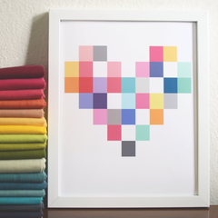 Patchwork Heart Print