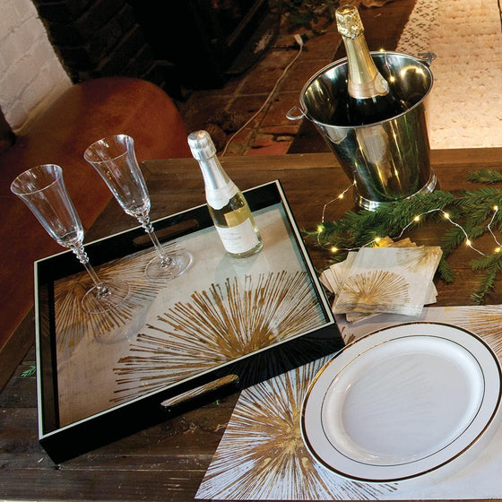"Gold Sunburst tray (15x15"")"