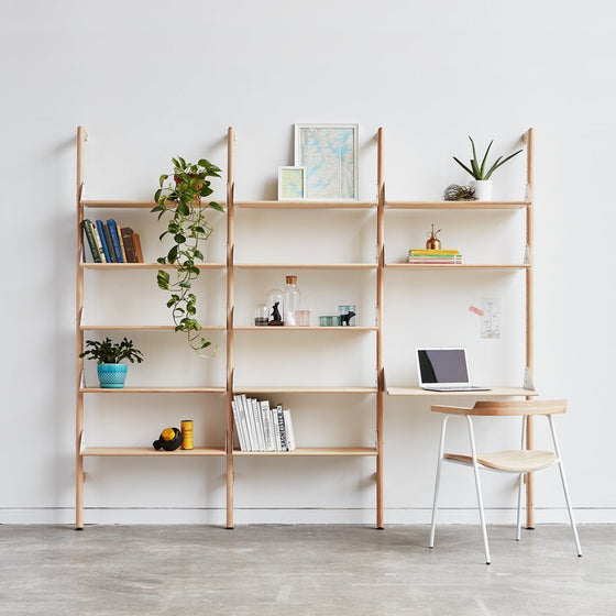 Branch Triple Unit (1 X Unit 2 Shelves & 1 Desk/2 X Units 5 Shelves Each)
