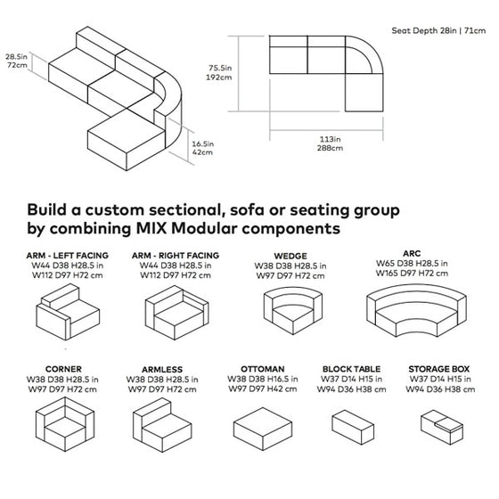 Mix Modular 4 Piece Wedge Sectional