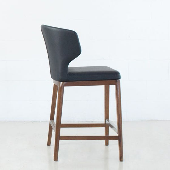 CABO COUNTER - LEATHERETTE SEAT + WOOD BASE STOOL