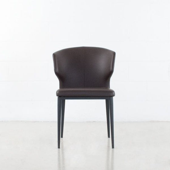 CABO DINING CHAIR - LEATHERETTE SEAT + METAL BASE