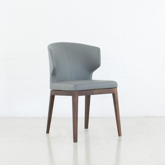 CABO DINING CHAIR - LEATHERETTE SEAT + WOOD BASE