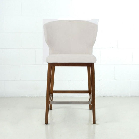 CABO COUNTER - FABRIC SEAT + WOOD BASE STOOL