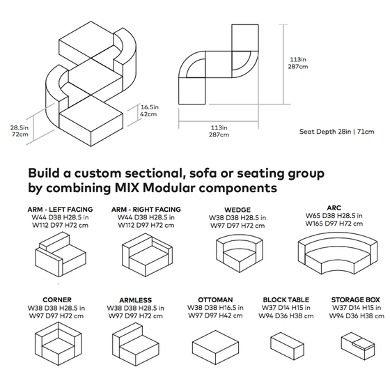 Mix Modular 5 Piece Seat Grouping A