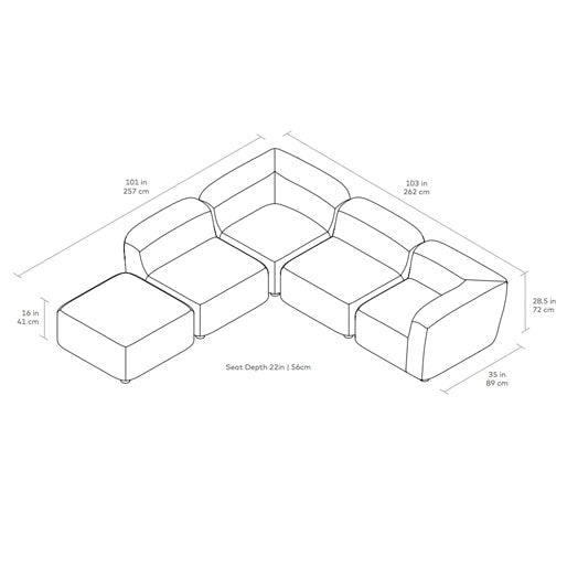 Circuit Modular 5-pc Sectional