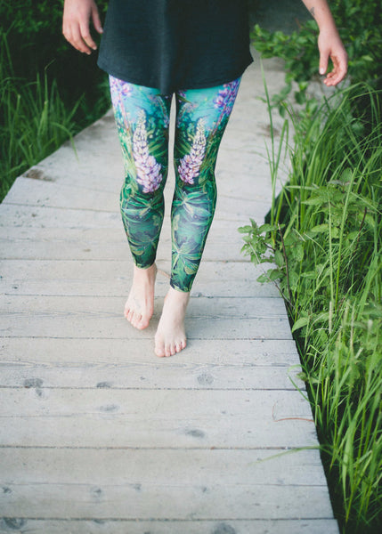Made in Canada leggings printed with Lupin wildflowers, Whistler. From yoga to street style. Heidi The Artist.
