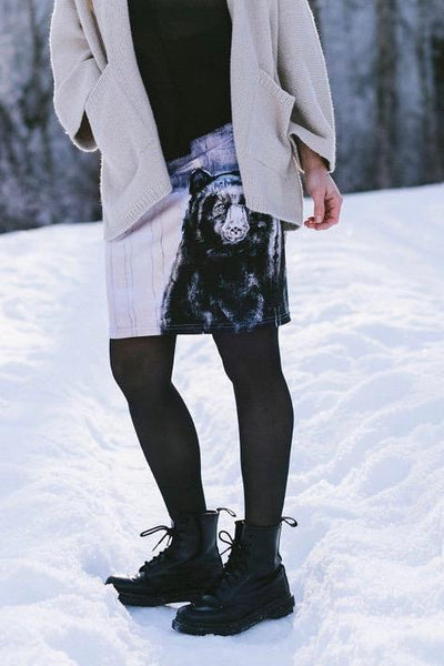 Pencil skirt with bear print. Art by Heidi Denessen. Recycled fabric, made in Canada.