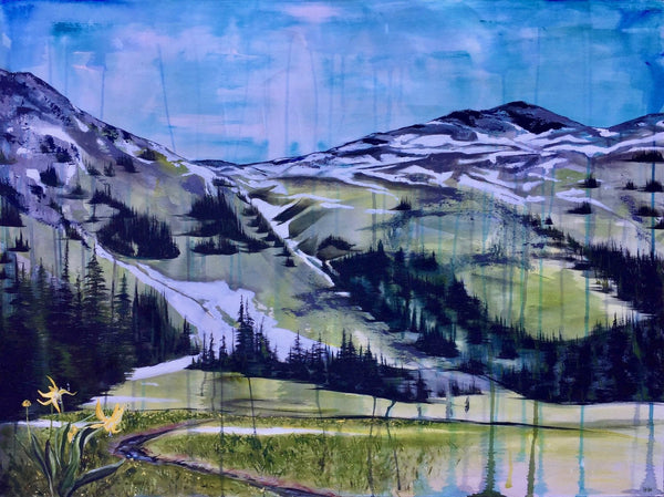 Original Canadian landscape painting. Alpine view from Tenquille Lake, BC. By Heidi Denessen