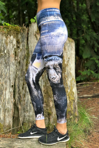 Whistler Black Bear Leggings, Made in Canada.