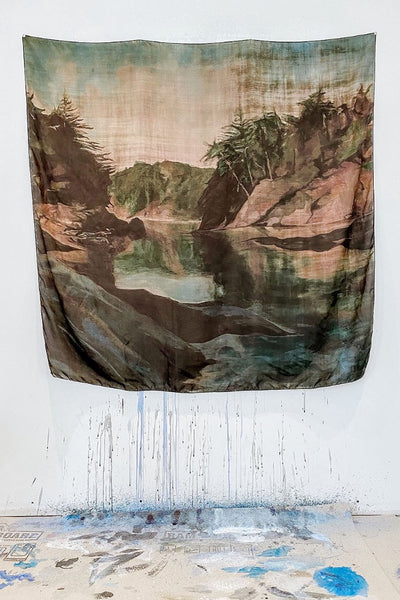 "100% Silk Scarf printed with Heidi's painting of the Curme Islands in Desolation Sound, BC. 50""x50"""