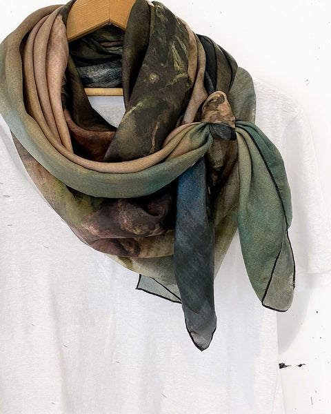 Oversize Desolation Sound Silk Scarf