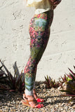 Recycled leggings printed with a painting of Fireweed by artist Heidi Denessen. Made in Canada.