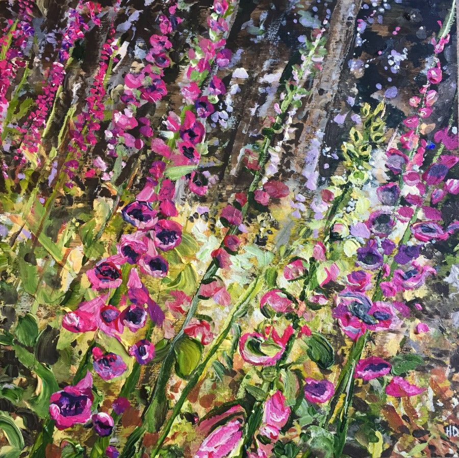 An original painting of Foxglove flowers on Gambier Island, BC.