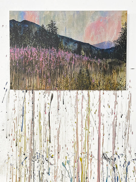 "Fireweed At Dusk Art Print on Wood 12""x18"""