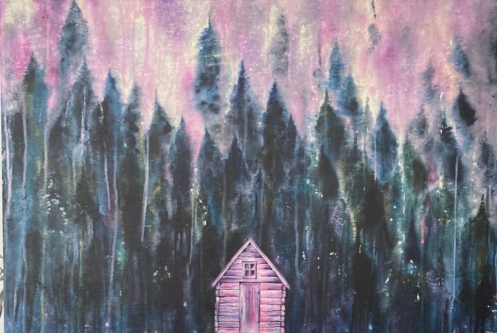 "Pink Cabin In The Woods Art Print on Wood 12""x18"""