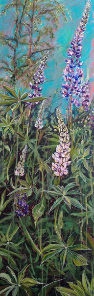 Original painting of Lupin wildflowers in Whistler, BC. By Heidi The Artist. This painting is printed on the Long Lupin Legging.