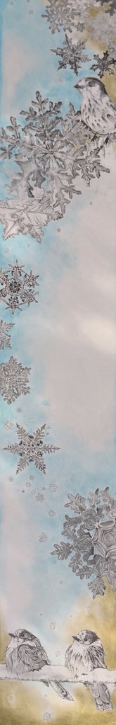 Original artwork by Heidi Denessen of Whiskey Jacks and snowflakes. Romantic and feminine. Blue, white, gold.