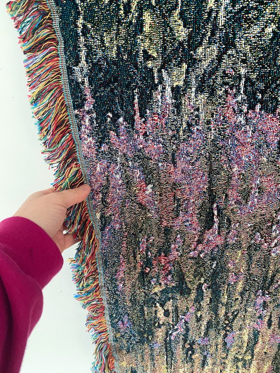 Fireweed At Dusk Woven Tapestry Blanket
