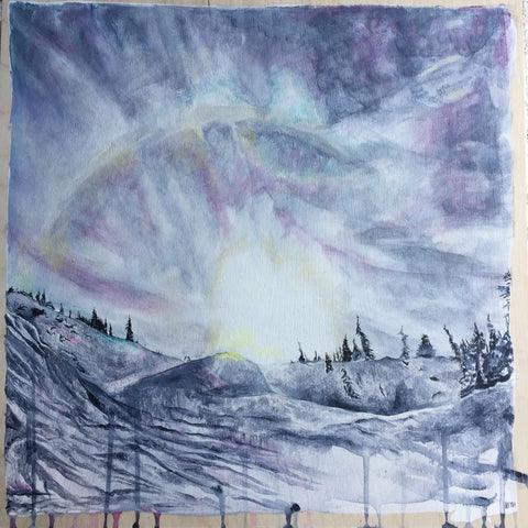 Original painting by Heidi Denessen of a sunburst over Blackcomb Mountain, Whistler, BC. Blue, purple, pink, white, yellow.